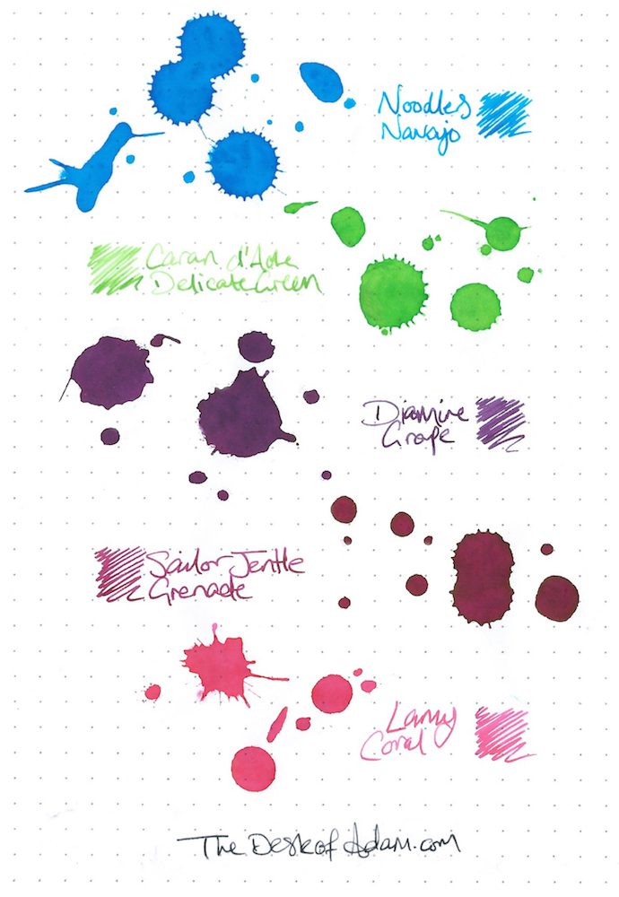 (CLICK TO ENLARGE) Noodlers - Navajo Caran d'Ache - Delicate Green Diamine - Grape Sailor Jentle - Grenade Lamy - Coral