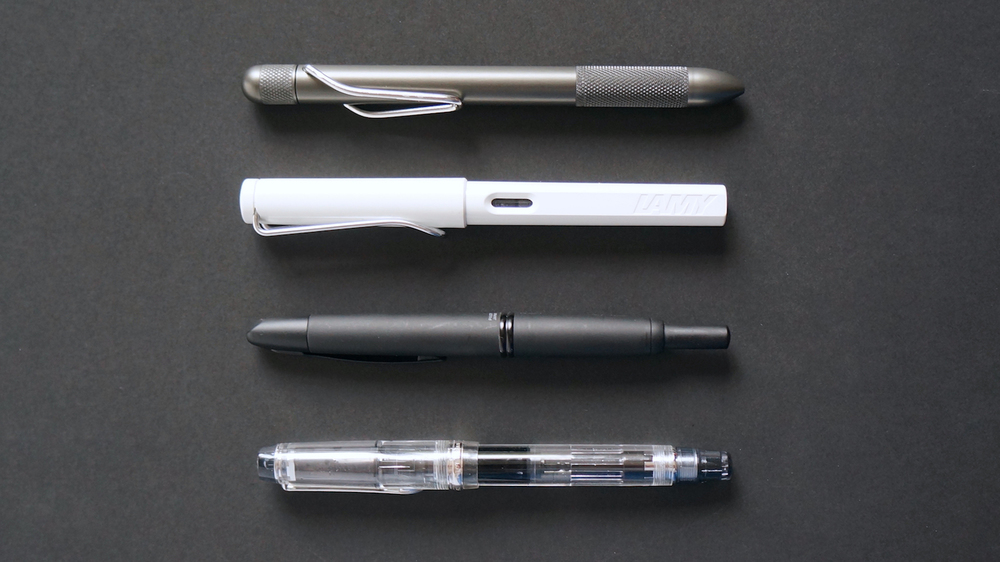 Top to bottom - RIIND, Lamy Safari, Pilot Vanishing Point, Pilot Custom Heritage 92