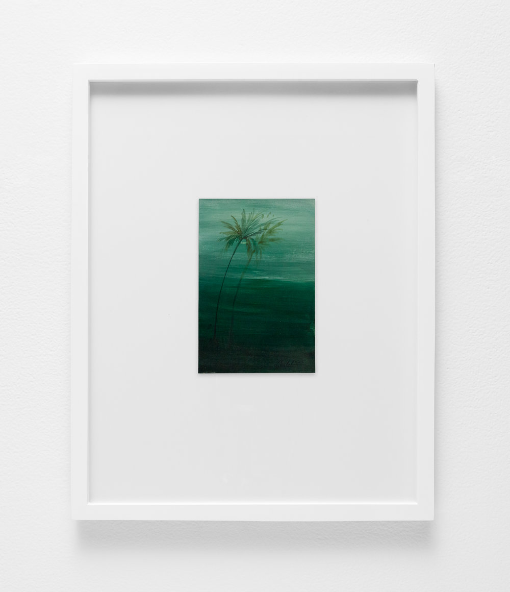 Ghaleb Al-Bihani,  Two palm trees in green , 2016
