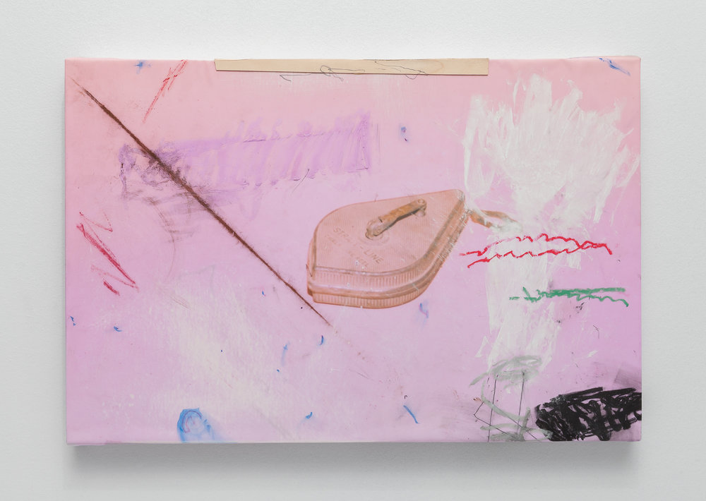 Masonry Repairs,  Charcoal, graphite, chalk, wax pencil, oil pastel, and pine veneer on adhesive fabric print stretched onto panel, 2019