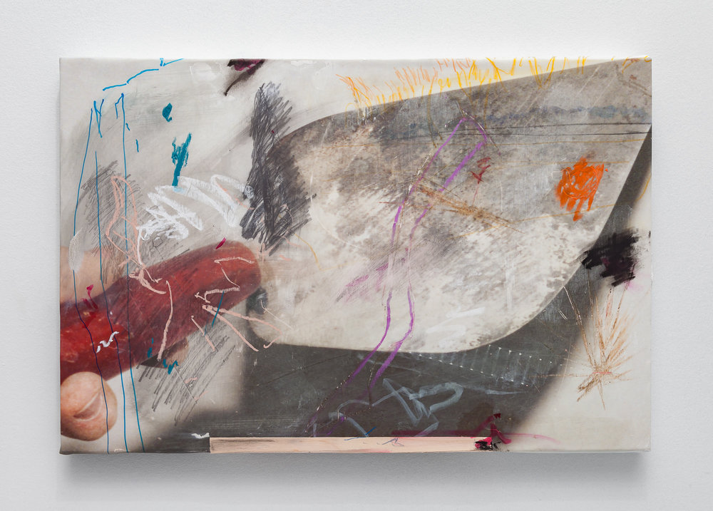 Masonry Repairs,  Charcoal, graphite, chalk, ink, plaster, oil pastel, watercolor pencil, and pine veneer on adhesive fabric print stretched onto panel, 2019