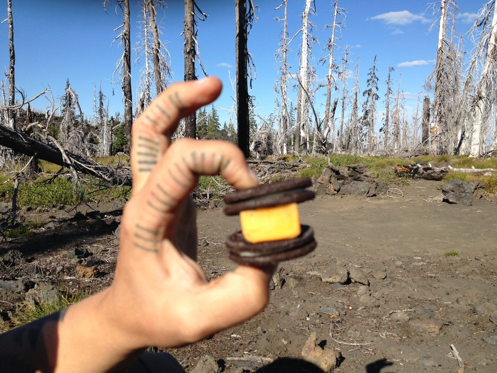 my favorite impromptu trail snack.  a sandwich within a sandwich within a sandwich.  cue Inception soundtrack.