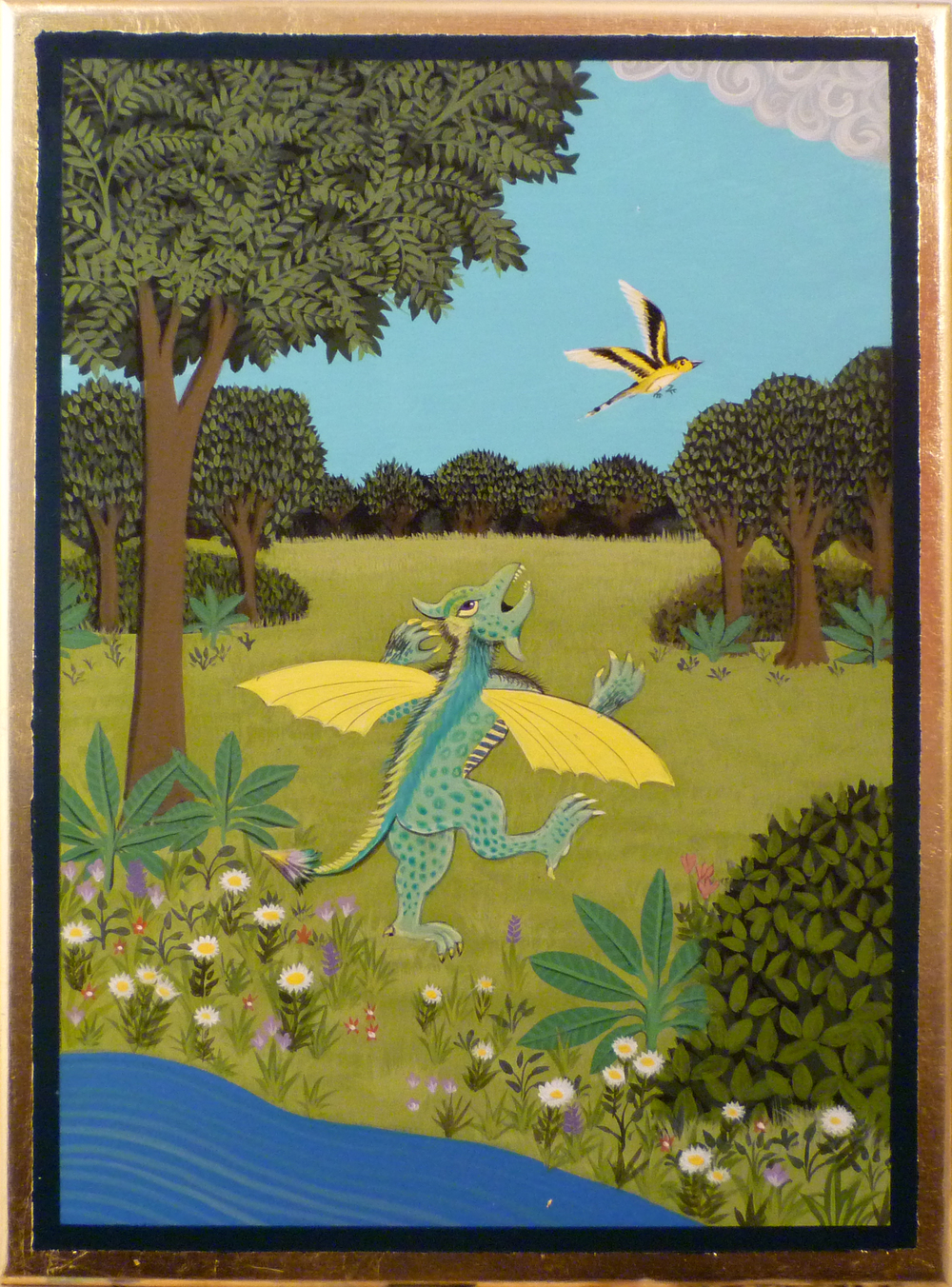 The Chase 2012 acrylic and metal leaf on panel 12 x 9 inches not available