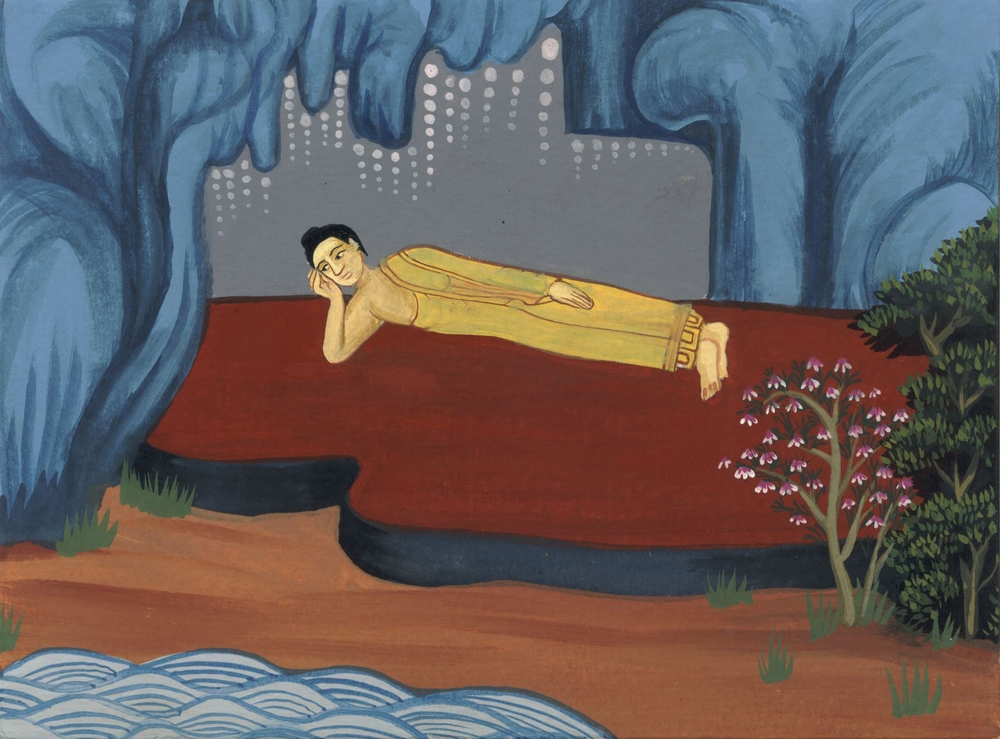 Reclining Buddha 2007 gouache on paper 6 x 4.5 inches