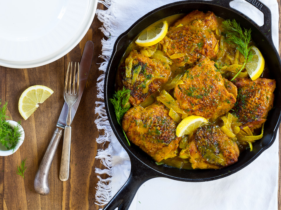 Braised Chicken Thighs w/ Lemon & Dill - an easy weeknight dinner recipe