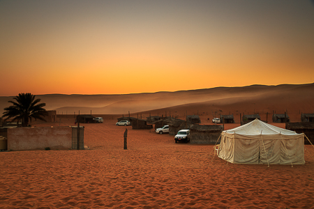 Sunrise in camp over the dunes