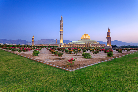 Sultan Qaboos mosque at sunset