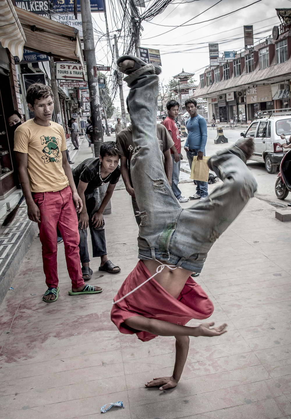 One of the boys' pleasures, practicing breakdancing.