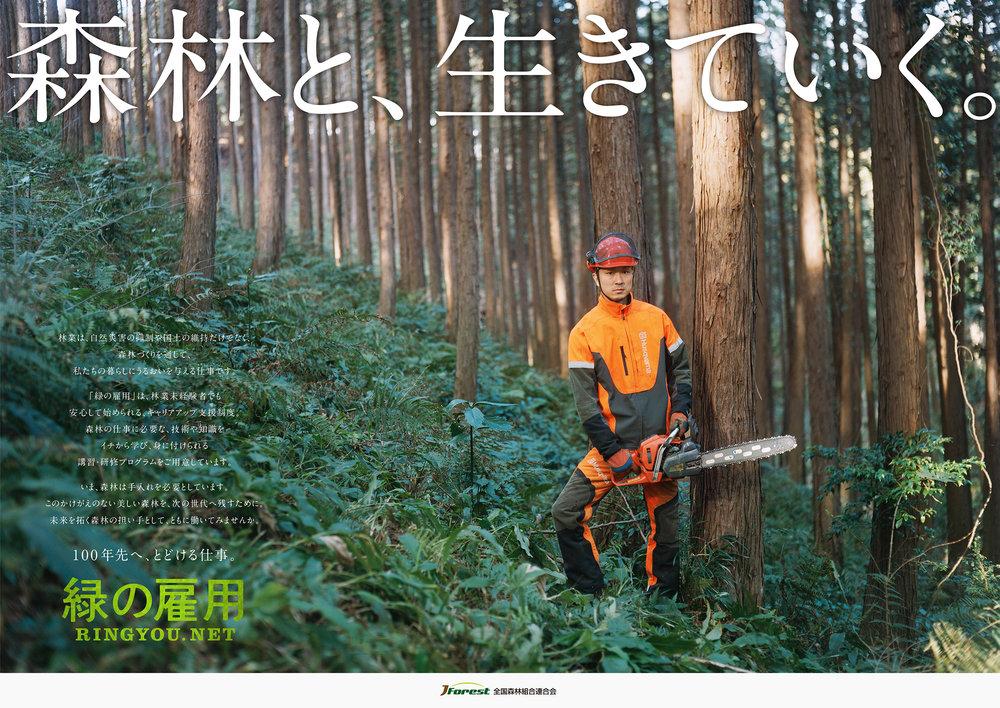 「緑の雇用」メインビジュアル (全国森林組合連合会) 02/2017  AD: Daiki Goto / RT: Masaya Ouchi / PH: Sakie Miura