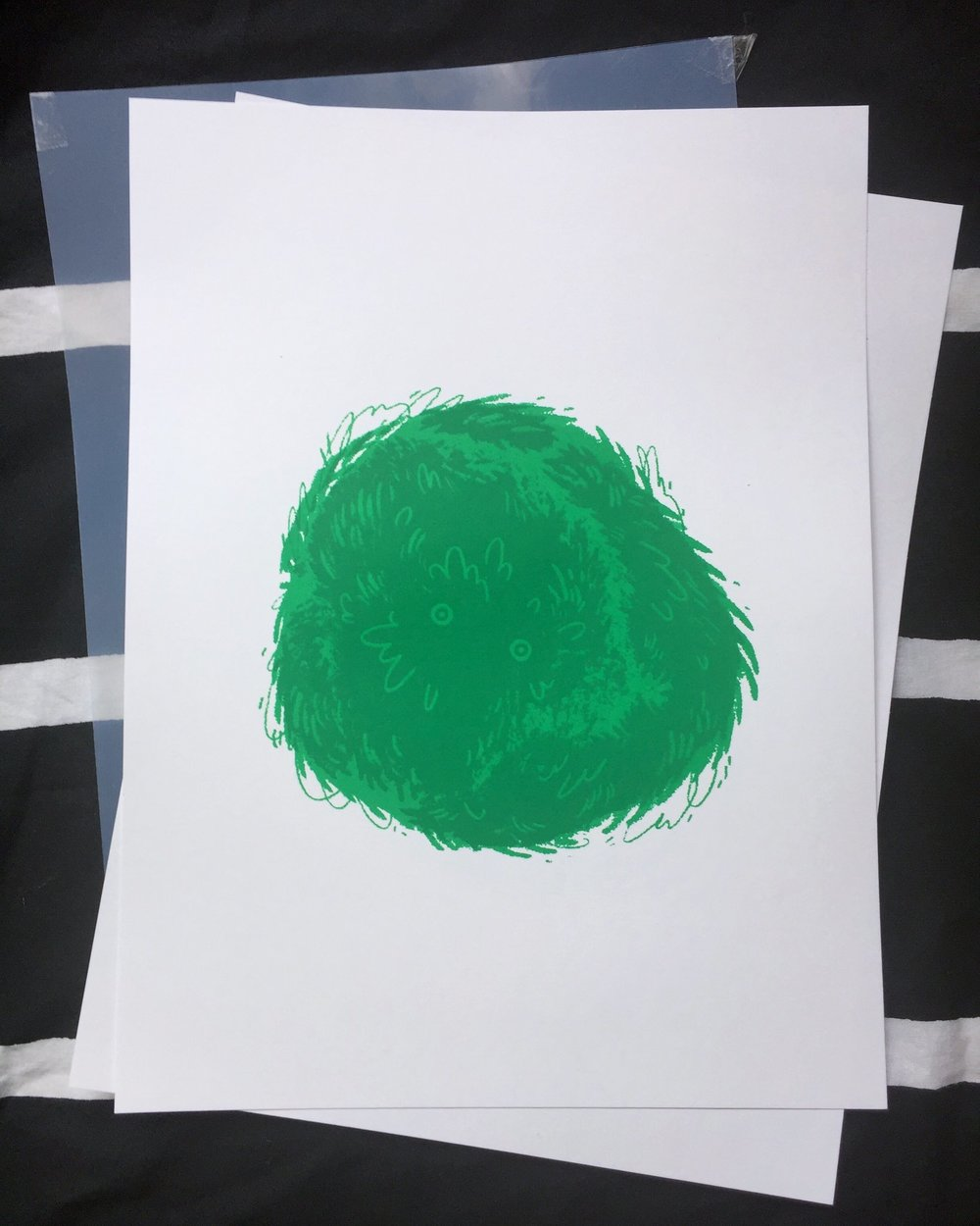 Marimo Moss Screenprint - Hand pulled by me.