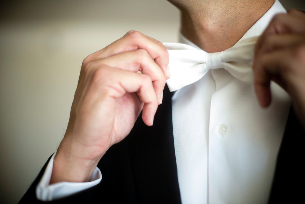 White Bow Tie - Luxury Interfaith Wedding at Bellagio Las Vegas.