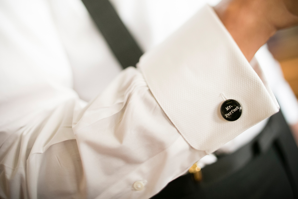Mr. Perfect Cufflinks for the Groom. Luxury Interfaith Wedding at Bellagio Las Vegas.