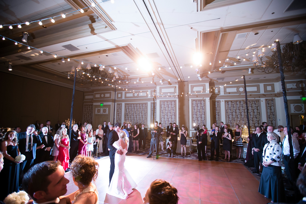 First Dance under bistro lighting at Bellagio Las Vegas.