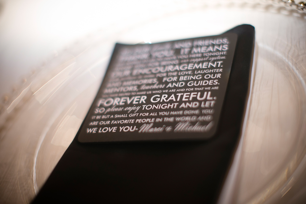 Thank you notes left at each place setting at Las Vegas Wedding.
