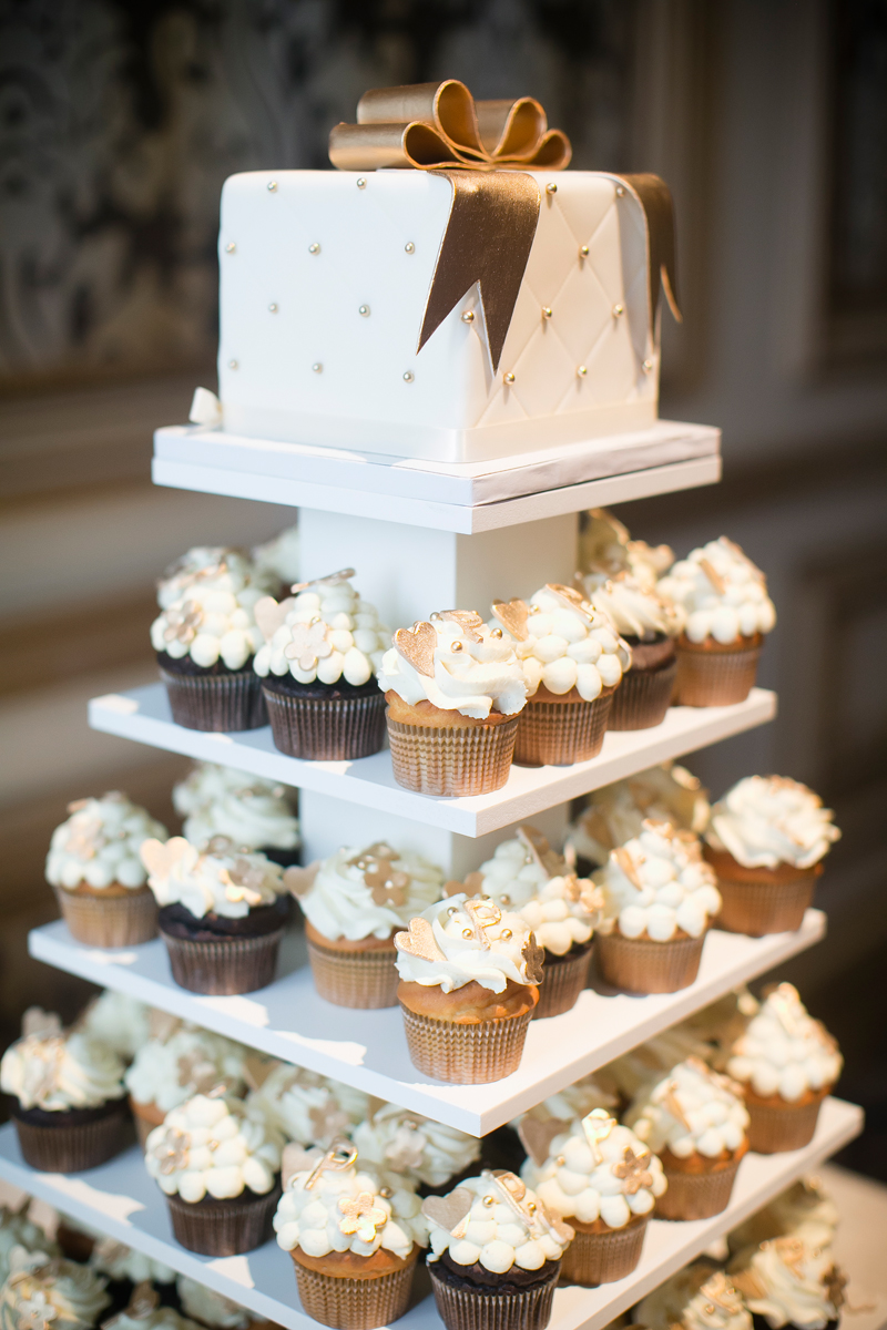 Cupcake Tower topped with a Wedding Cake at Bellagio Las Vegas.