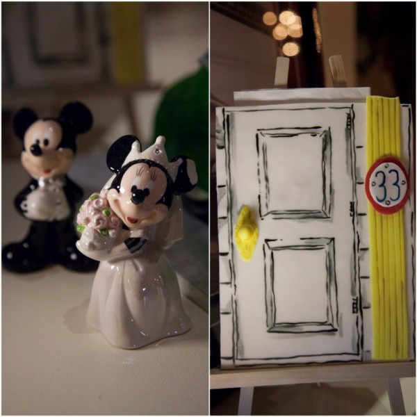 Mickey & Minnie Disney figurines and a fondant door celebrating 33, the private club at Disneyland, commemorated the wedding.