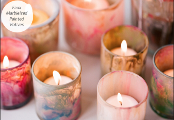 Marbleized votive candles - Wedding Trends 2014