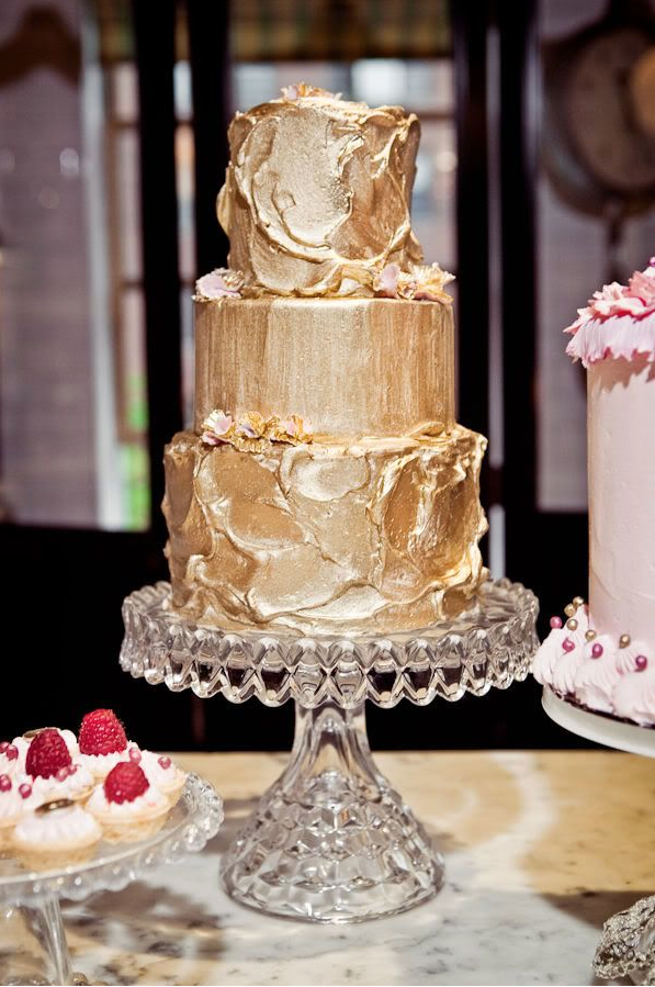 Gold Metallic Wedding Cake - Wedding Trends 2014