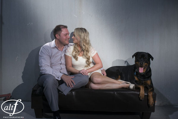 Jager, the family dog, joined Eric and Amy at their engagement photo shoot.