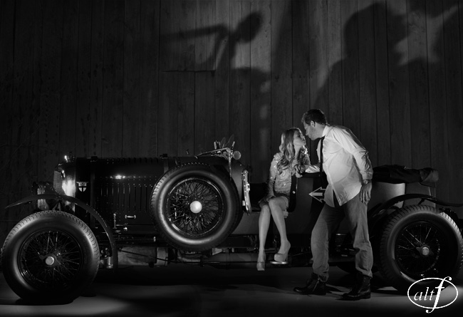 Erica Ott & Steve Ott - Black & White Engagement Photos with Classic Car