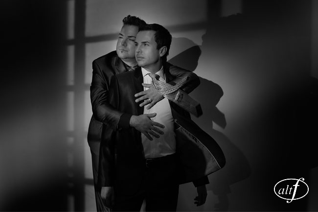 Two Grooms in a Black and White Engagement Photo
