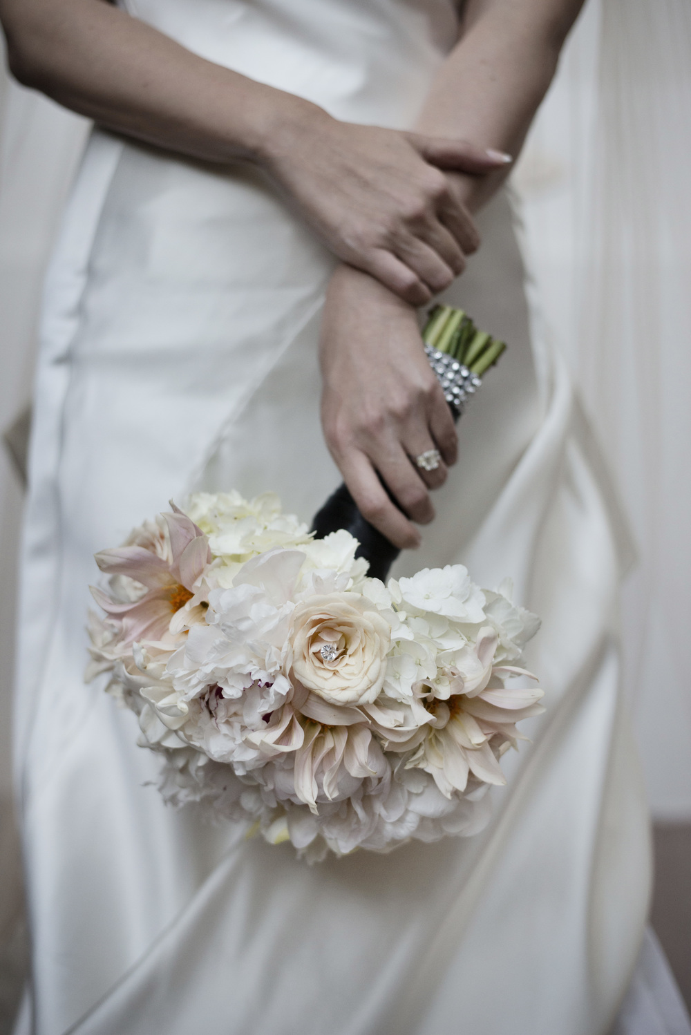 Bridal Bouquet in timeless colors of white, ivory, and blush. An Intimate Wedding at Four Seasons Las Vegas.