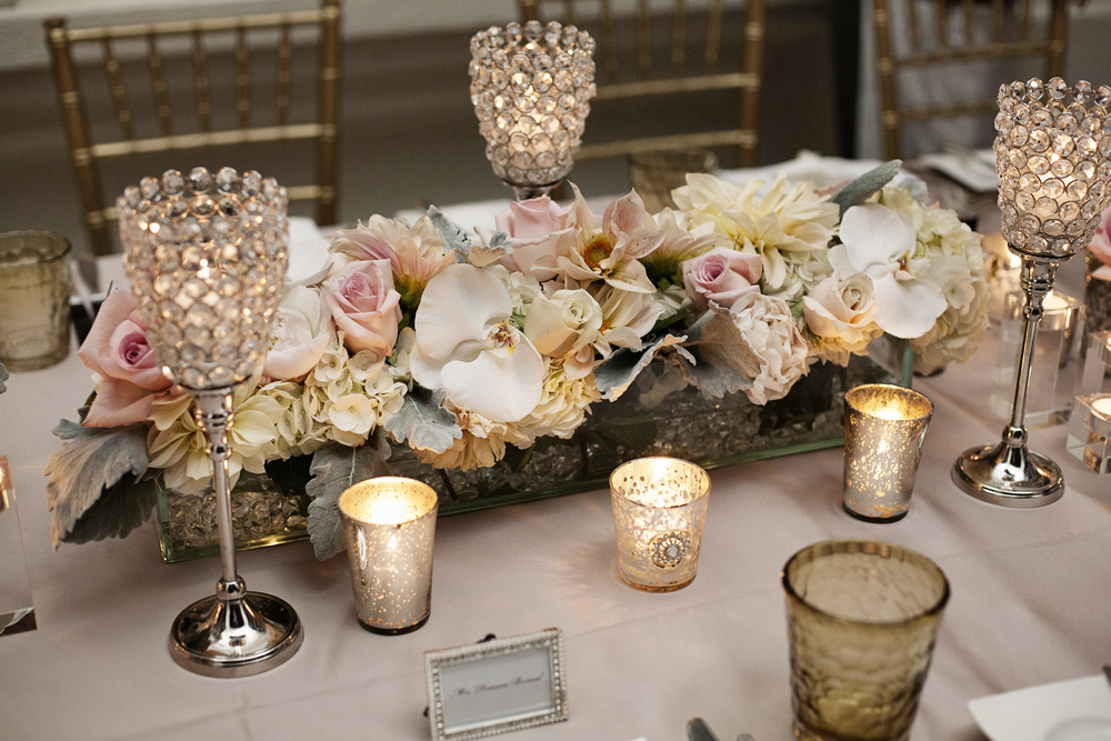 Low Blush and Pink Centerpieces with Crystal Candle Accents - An Intimate Wedding at Four Seasons Las Vegas.