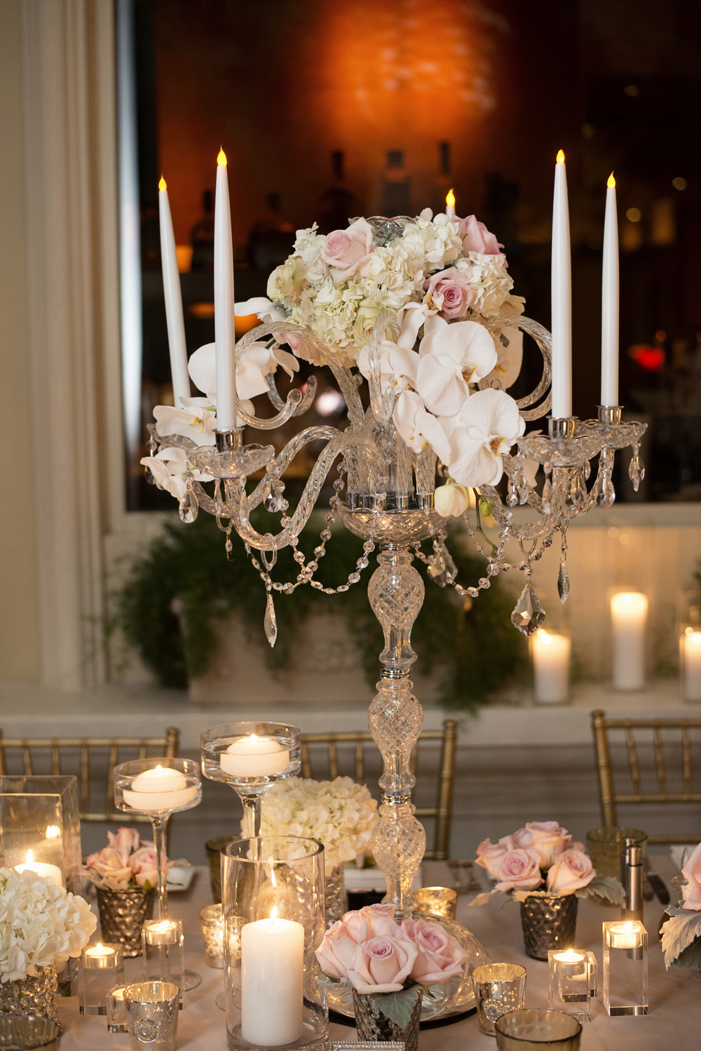 Crystal Candelabra topped with Classic Roses and Orchids - An Intimate Wedding at Four Seasons Las Vegas.