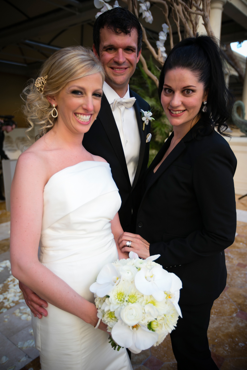 Las Vegas Wedding Planner Andrea Eppolito with the Bride & Groom at Bellagio Las Vegas.