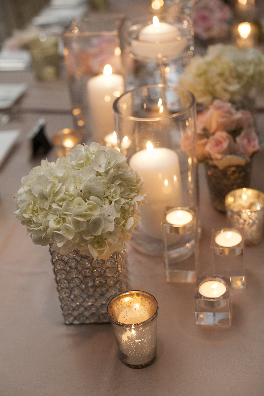 Hydrangea in Crystal Vases and Mercury Glass Candles - An Intimate Wedding at Four Seasons Las Vegas.