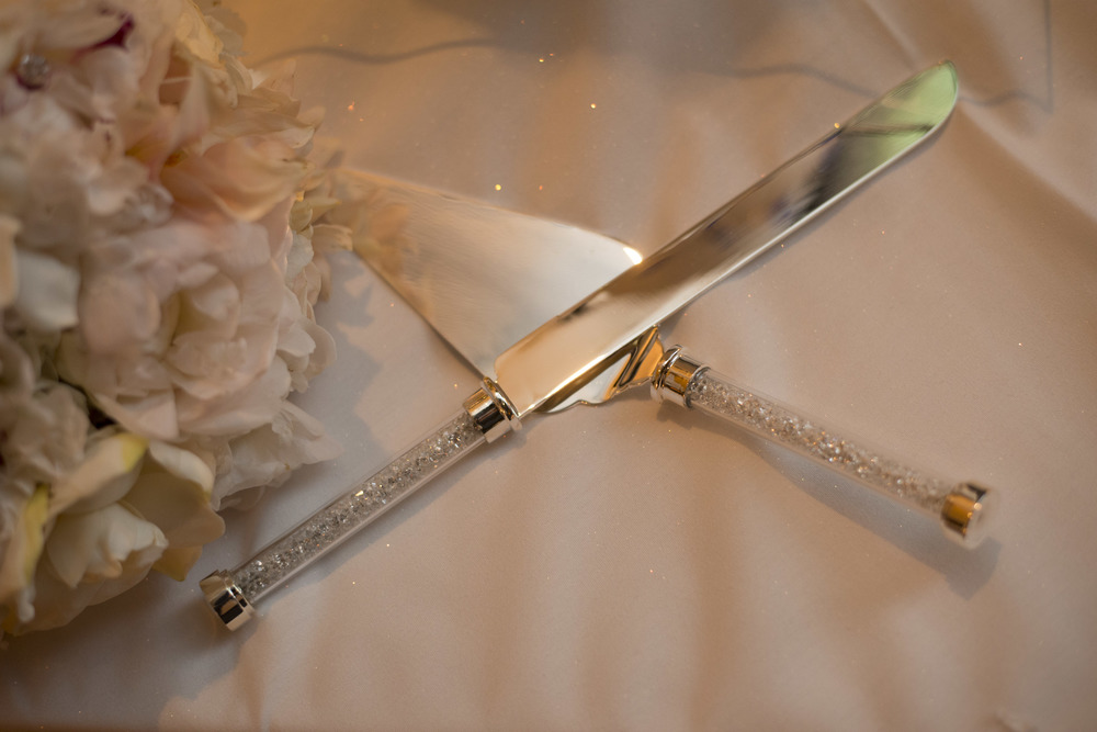 Crystal Cake Cutting Knives and the Bridal Bouquet - An Intimate Wedding at Four Seasons Las Vegas.