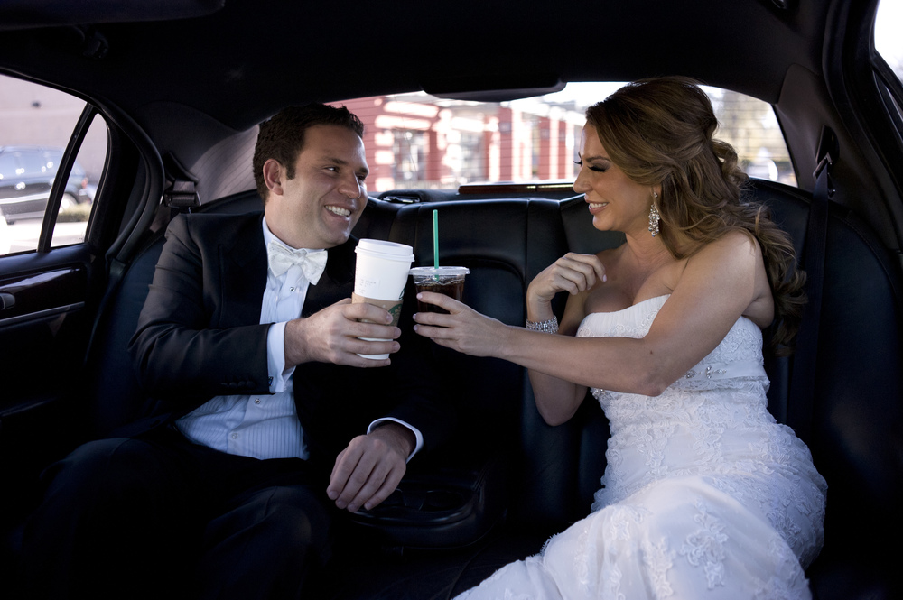 Only the coolest of couples would take a stretch limo through Starbucks!