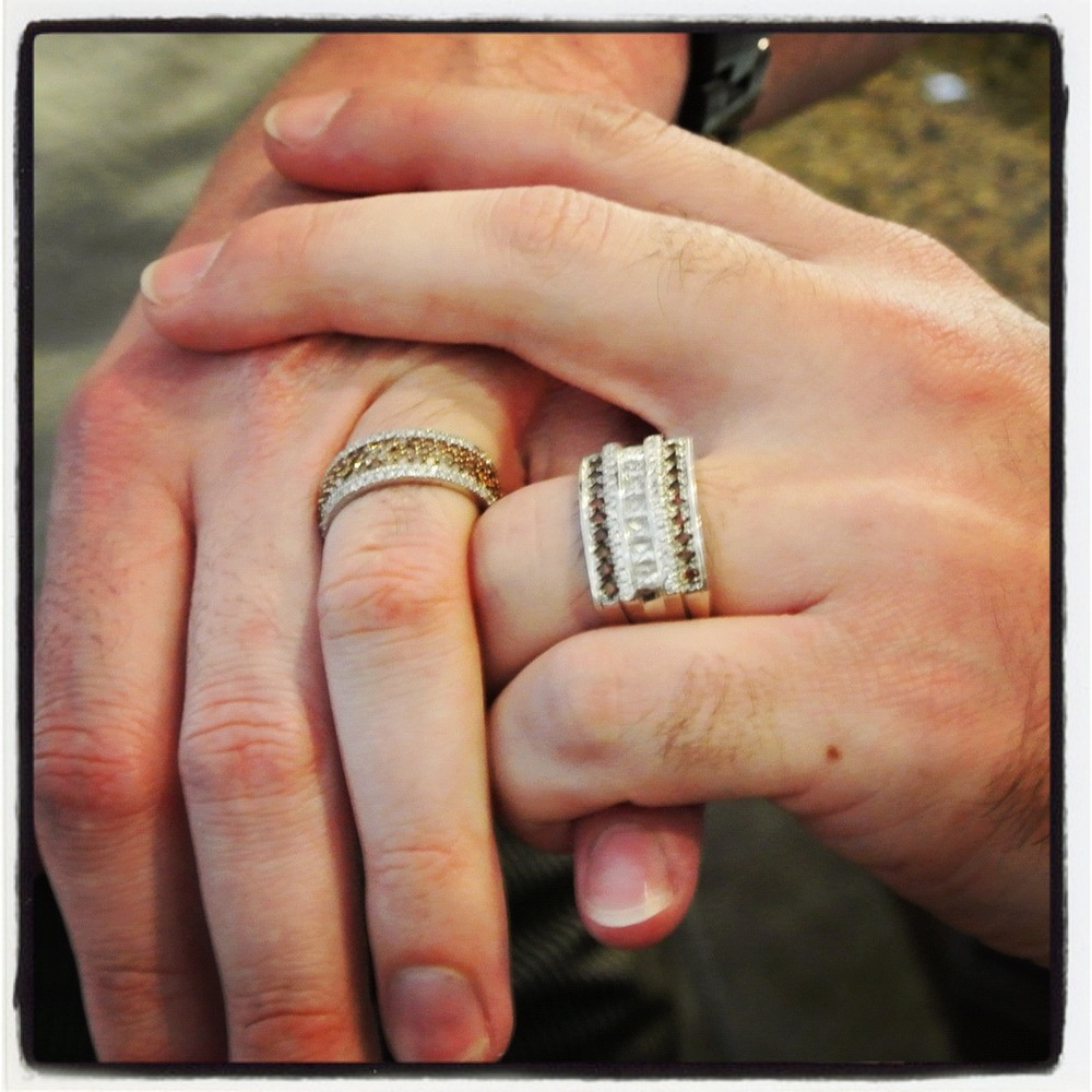 Marek & Rocco show off their engagement rings. Love the Cognac Diamonds! Same Sex Wedding Rings for Two Grooms.