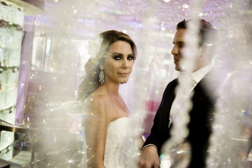 Celia & David - Bridal portrait at the Chandelier Bar at Cosmopolitan. Photo by www.altf.com.