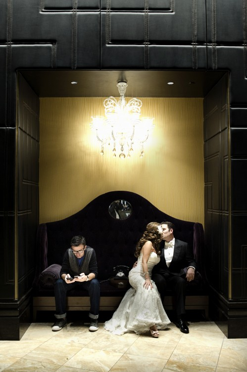 Super fun wedding photo with a emo-hipster set against our bride & groom. Photo by www.altf.com.