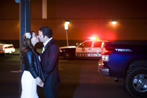 Great photo of Celia & David in Downtown Las Vegas! Love the red light on the patrol car!