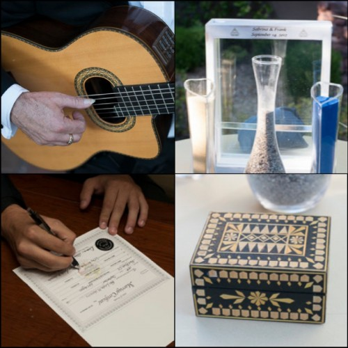 Each and every detail was personal, from the guitarist, the sand ceremony, Frank's son signing of the license and the custom designed ring box.