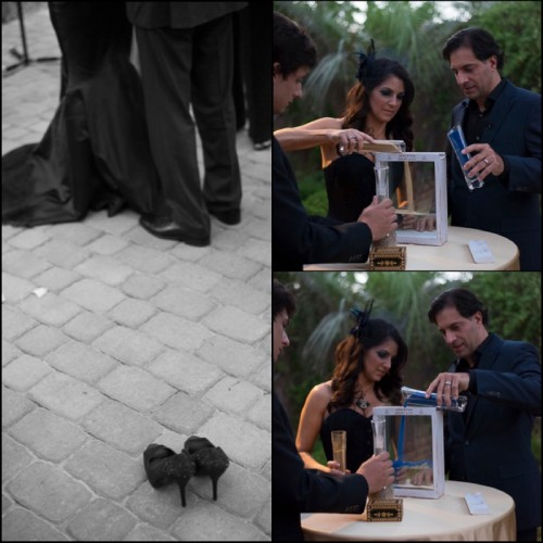 Sabrina took of her shoes and took place in a sand ceremony.