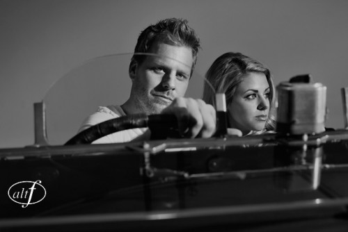 JMC happened to have a vintage car in the studio, which was the perfect prop for their engagement photos.