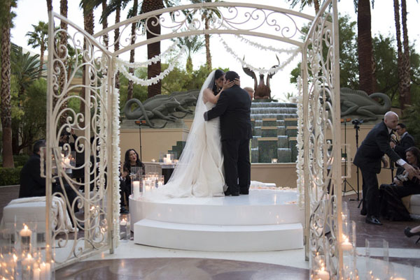 First Kiss. Las Vegas, Wedding. Four Seasons.  That moment was everything.