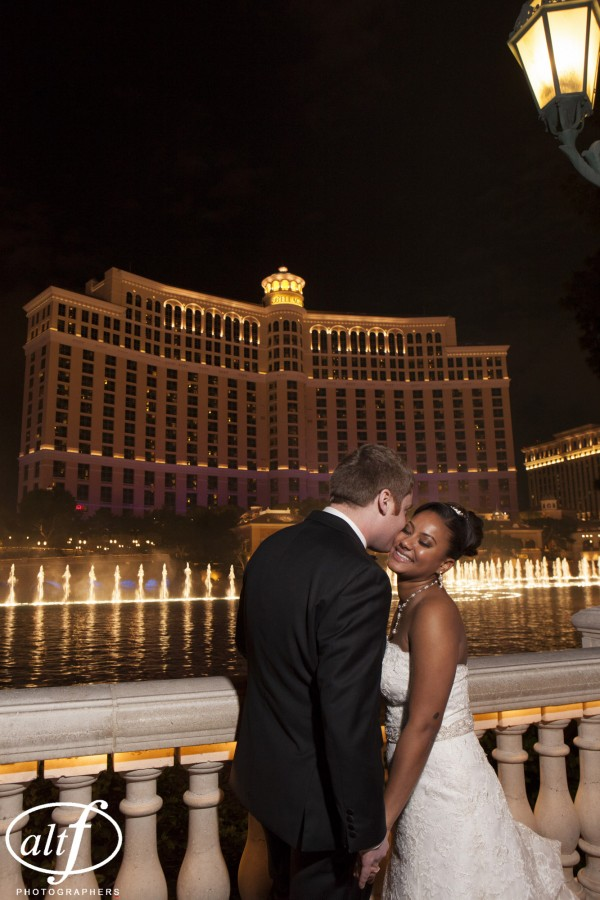 Taking a wedding photo at the Bellagio Fountains was a must for the newly married couple.