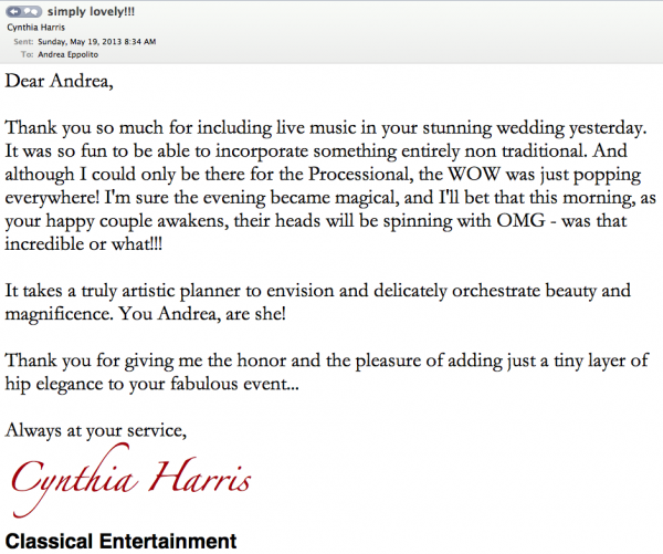 Perfect testimonial and thank you note from our partner, Cynthia Harris, of Classical Entertainment Las Vegas.