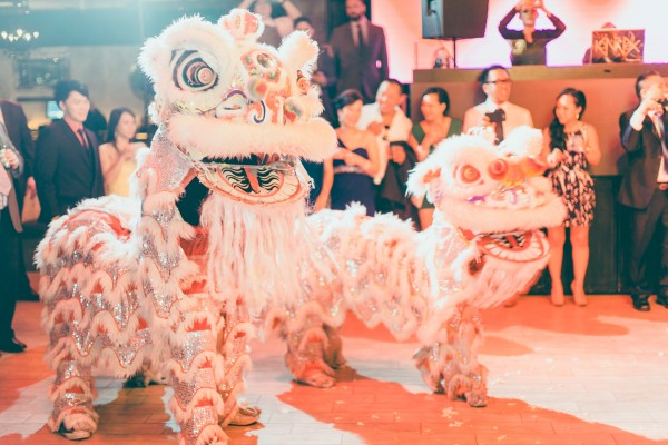 Why yes, those are Chinese Lions dancing at the wedding!