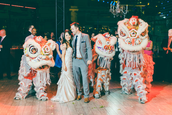 My-Lee & James surrounded by the Chinese Lion Dancers of the Las Vegas Kung Fu Academy. Photo by Adam Trujillo.