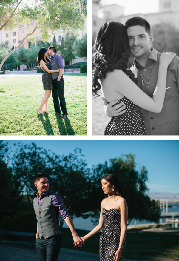 Katherine & Jared took their engagement photos at the village of Lake Las Vegas.