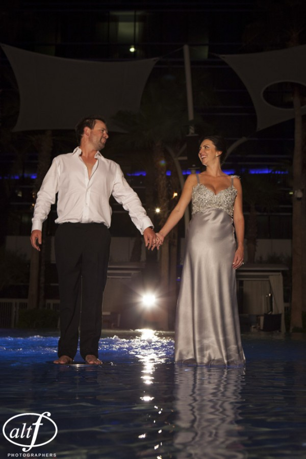 Phil & Jacki walking on water at the Hard Rock Hotel.