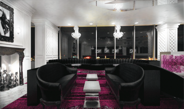 The newly remodeled Ghostbar at The Palms features a sleek white interior, dramatic black furnishings and pops of fucshia. Photo courtesy of The N9NE Group.