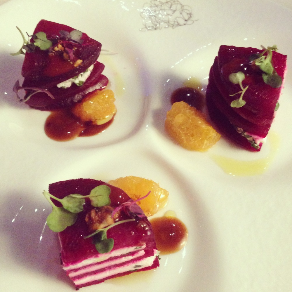 Beet & Goat Cheese Salad by Wolfgang Puck.  Photo by Las Vegas Event Planner Andrea Eppolito.