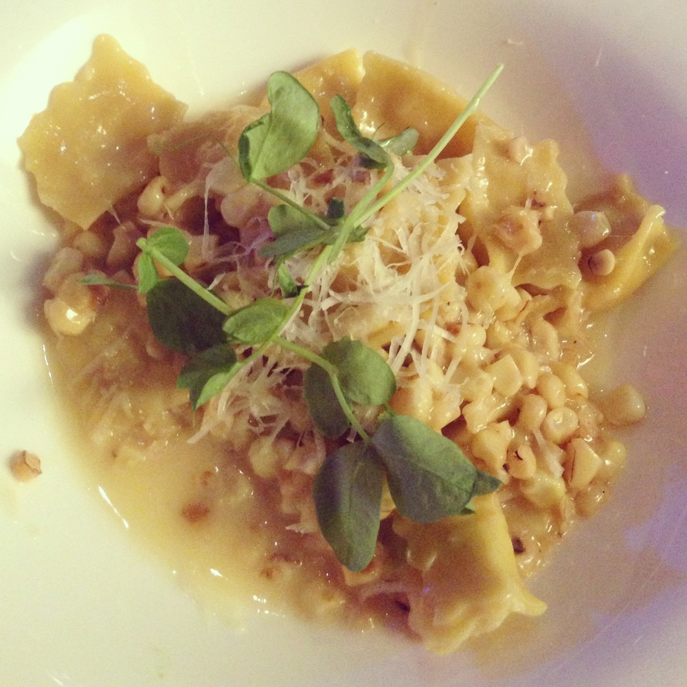 Sweet Corn Agnolotti by Wolfgang Puck. Photo by Las Vegas Event Planner Andrea Eppolito.
