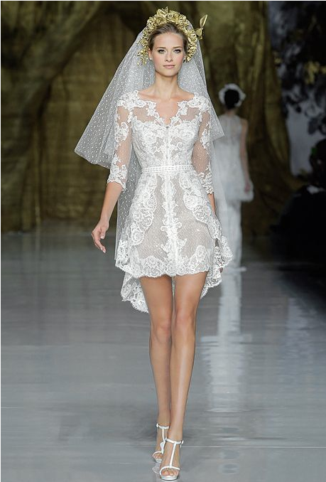 Sweet & Sassy - Short lace wedding dress by Pronovias.